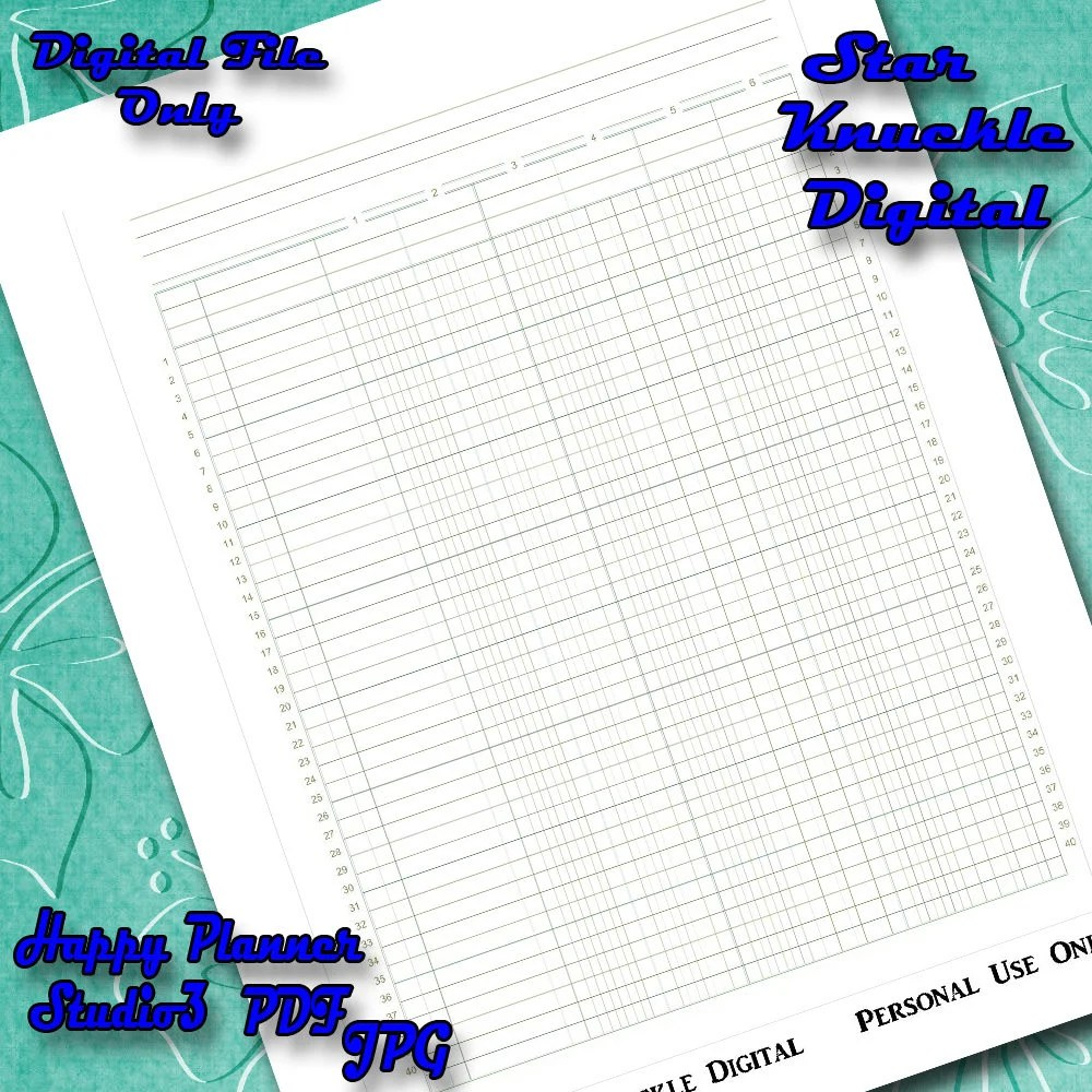 Printable Planner Ledger Sheet Mambi Happy Planner Ledger Etsy