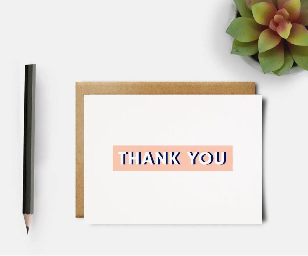 Thank You Card Simple Thank You Card Thanks Card Formal Thank You  Card Thank You Note Thank You Stationery Modern Thank You