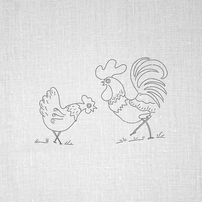 Rooster and Hen Hand Embroidery Pattern Vintage Hand Etsy