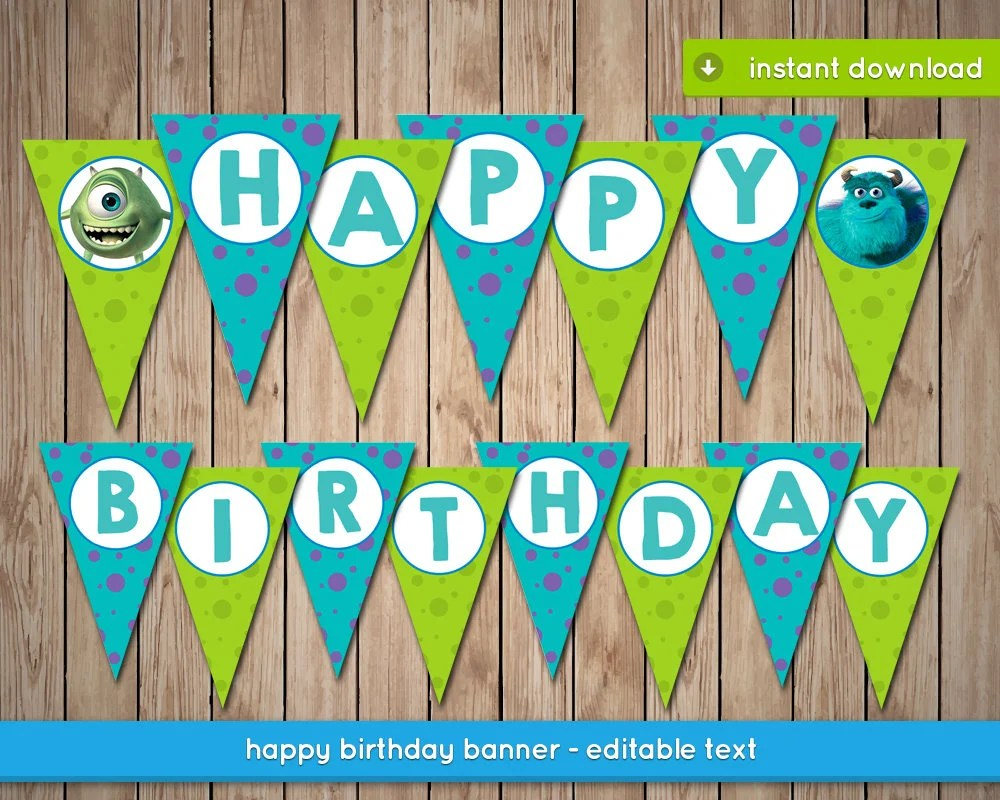 Monsters Inc Banner Printable happy birthday party banner Etsy