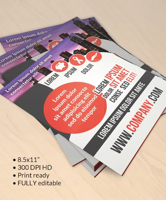 DIY Printable corporate flyer template with call to action Etsy