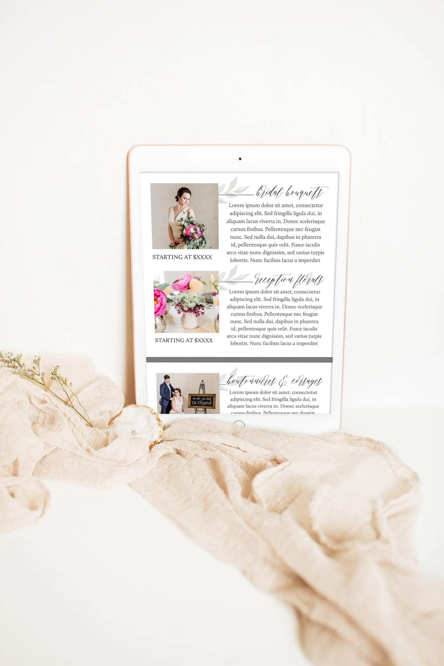 Dear Magnolia Digital Email-Ready Pricing Template Wedding Etsy