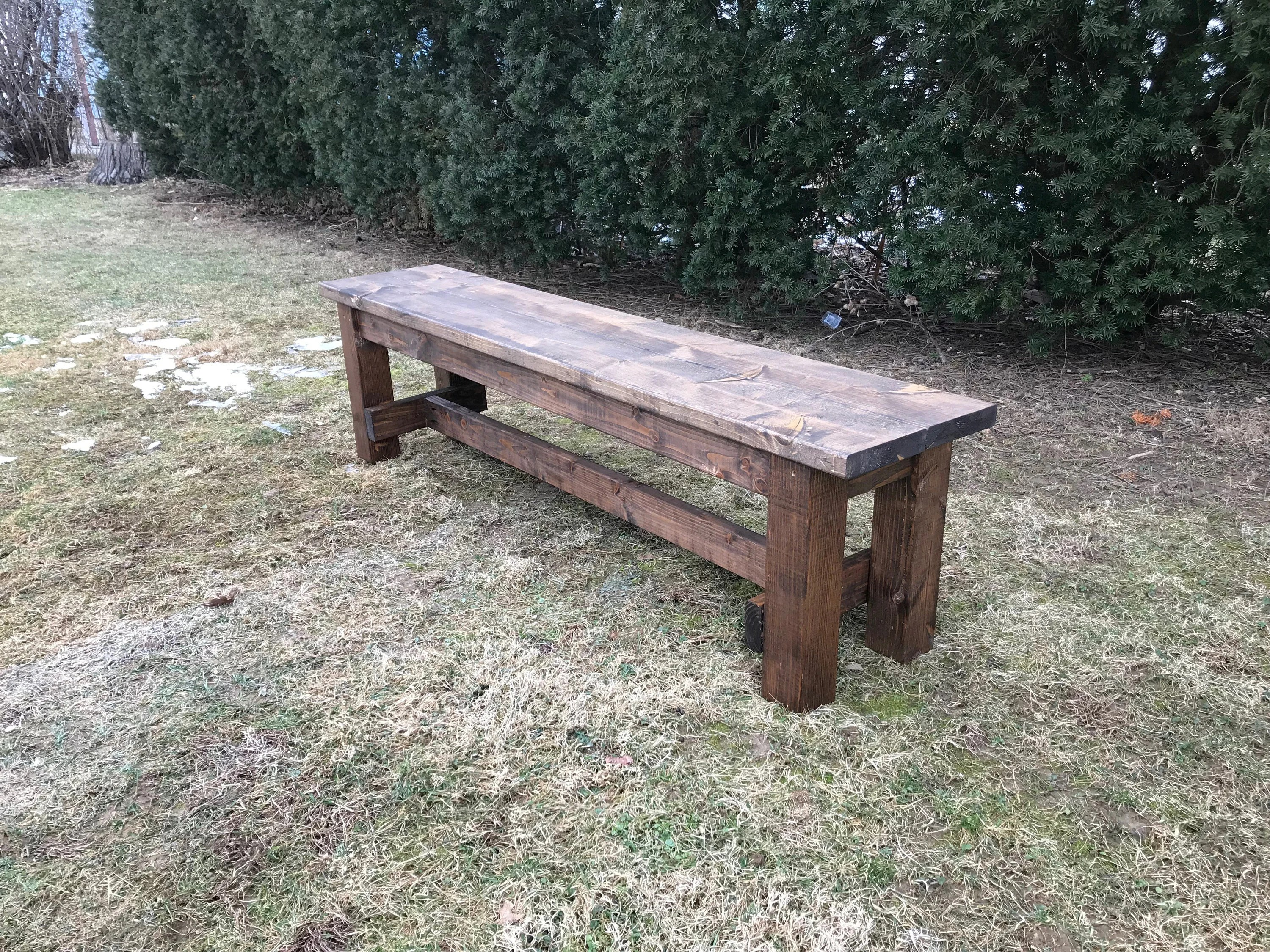 Wooden Bench Table Farmhouse Style Bench Farm Table Bench Rustic Bench Wooden Bench Kitchen Bench Custom Bench All Sizes And Stains