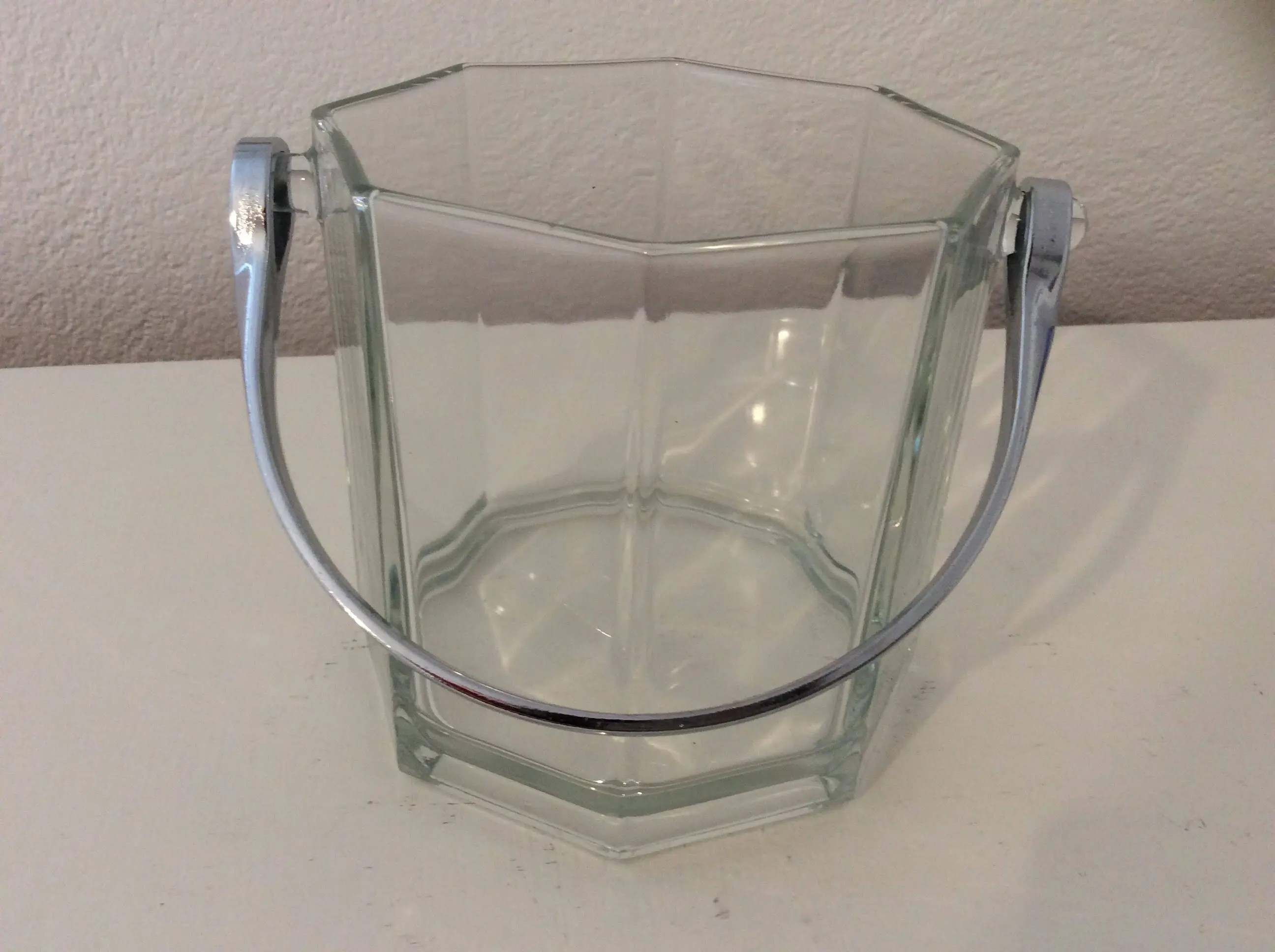 Luminarc Glass French Vintage Luminarc Octime Clear Glass Ice Bucket Octagon Silver Chrome Handle Barware