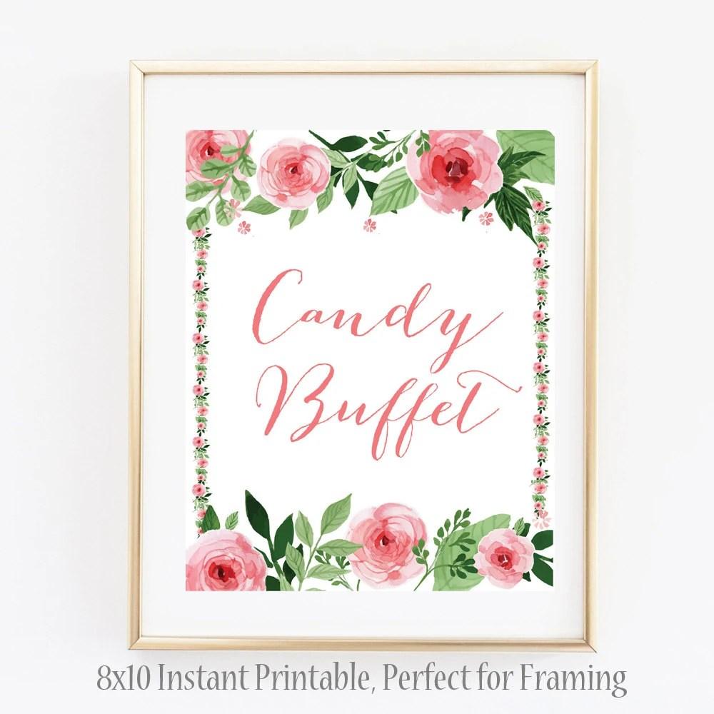 Candy Buffet Floral Wedding Sign, Buffet Wedding Sign, Bride, Pink