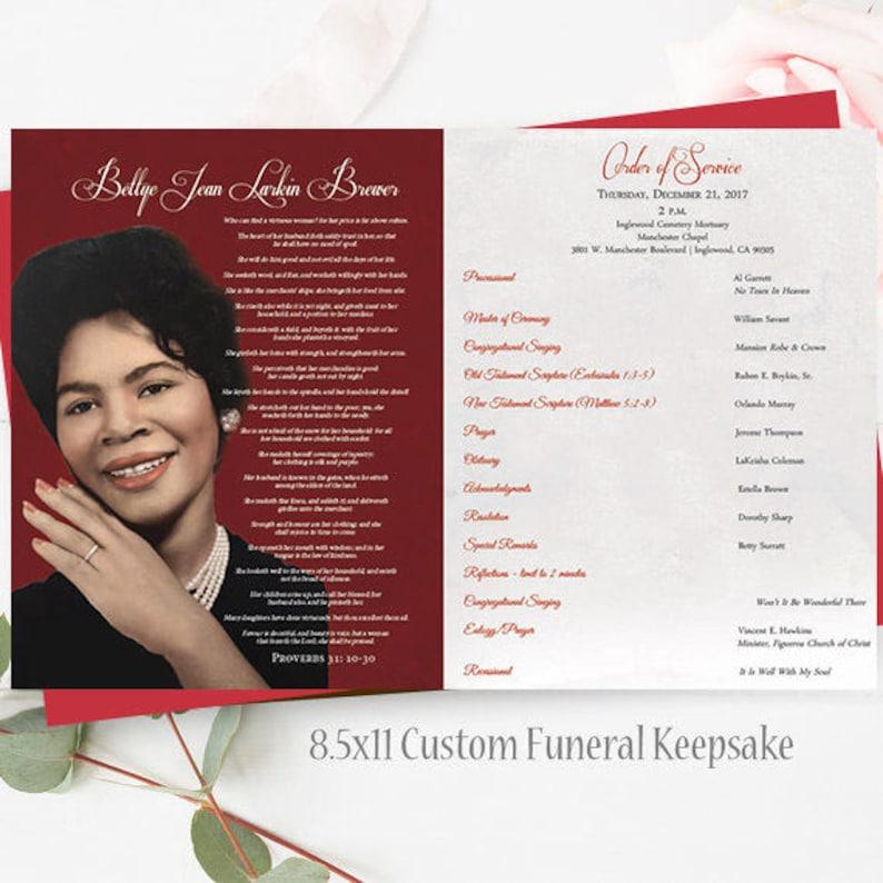 Funeral Program TEMPLATE Memorial Keepsake Celebration of Etsy