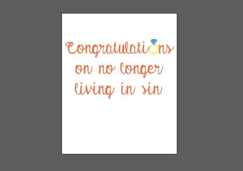Congratulations on no longer living in sin card Etsy