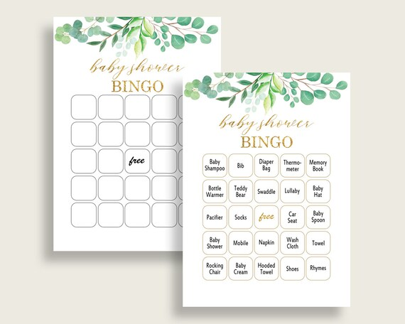 Greenery Baby Shower Bingo Cards Printable, Green Gold Baby Shower
