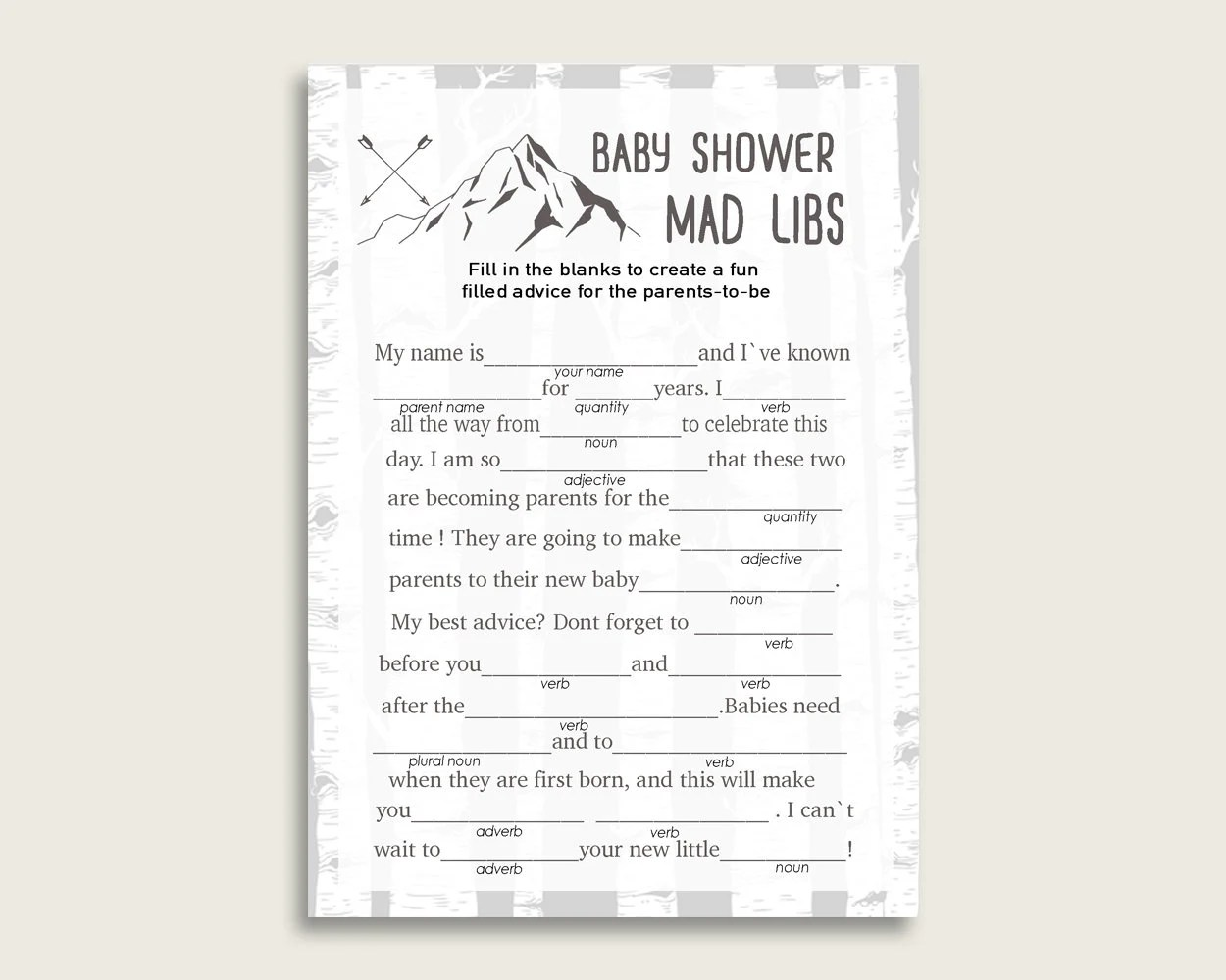 Gray White Mad Libs Baby Shower Boy Game Printable, Adventure