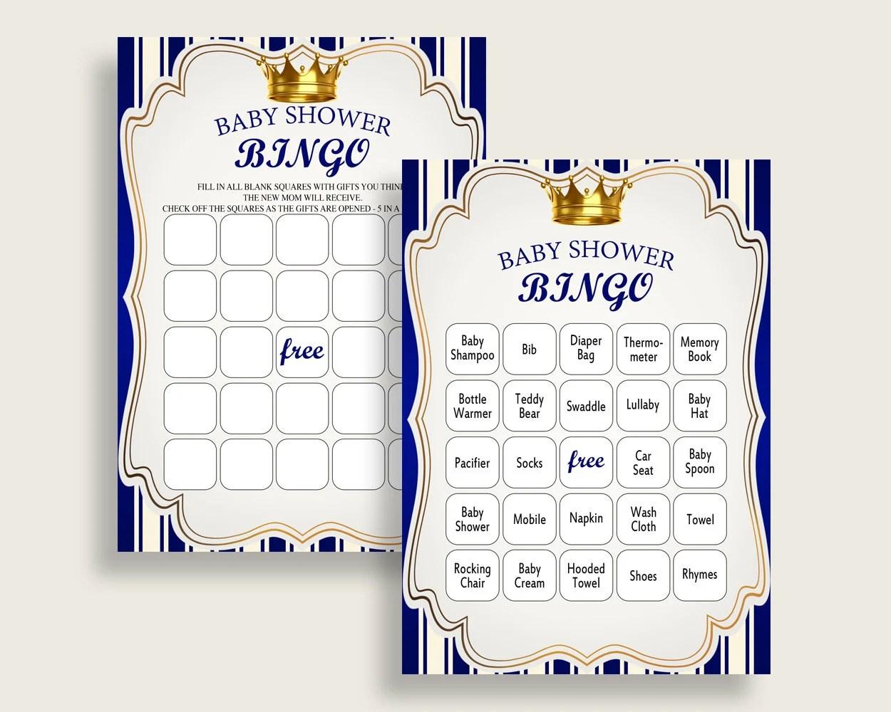Royal Prince Baby Shower Bingo Cards Printable, Blue Gold Baby