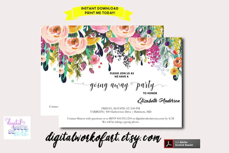 Going Away Party Invitation Template Printable DIY Watercolor Etsy