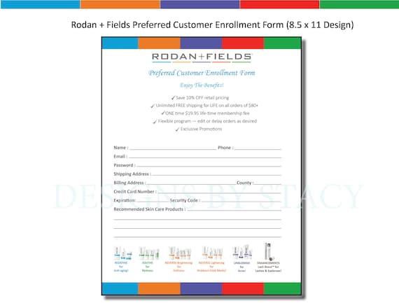 Rodan and Fields Preferred Customer Enrollment Form 85 x 11 - enrollment form format