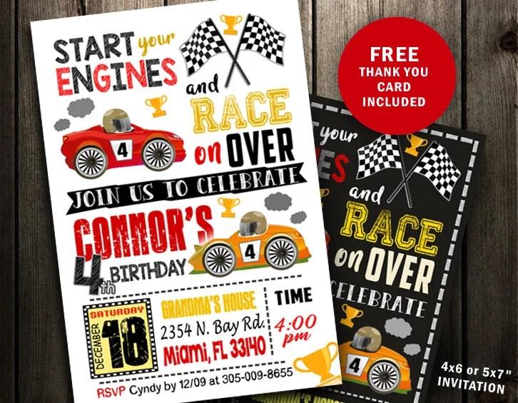 Race car invitation birthday party invites printable racing Etsy