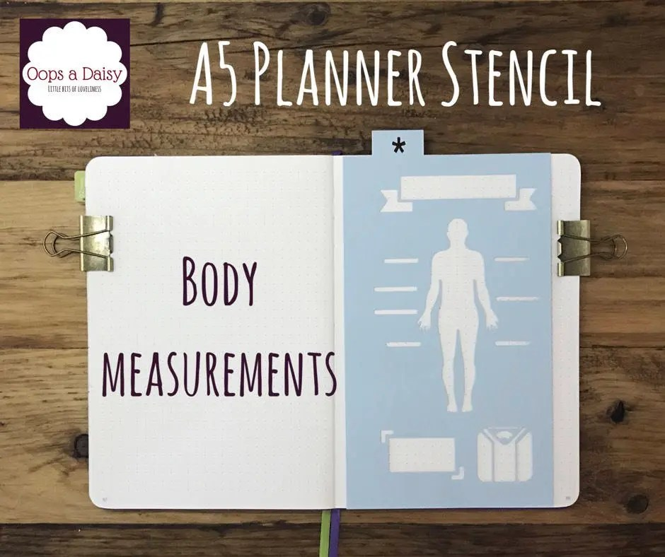 A5 Planner stencil body measurement fitness weight Etsy