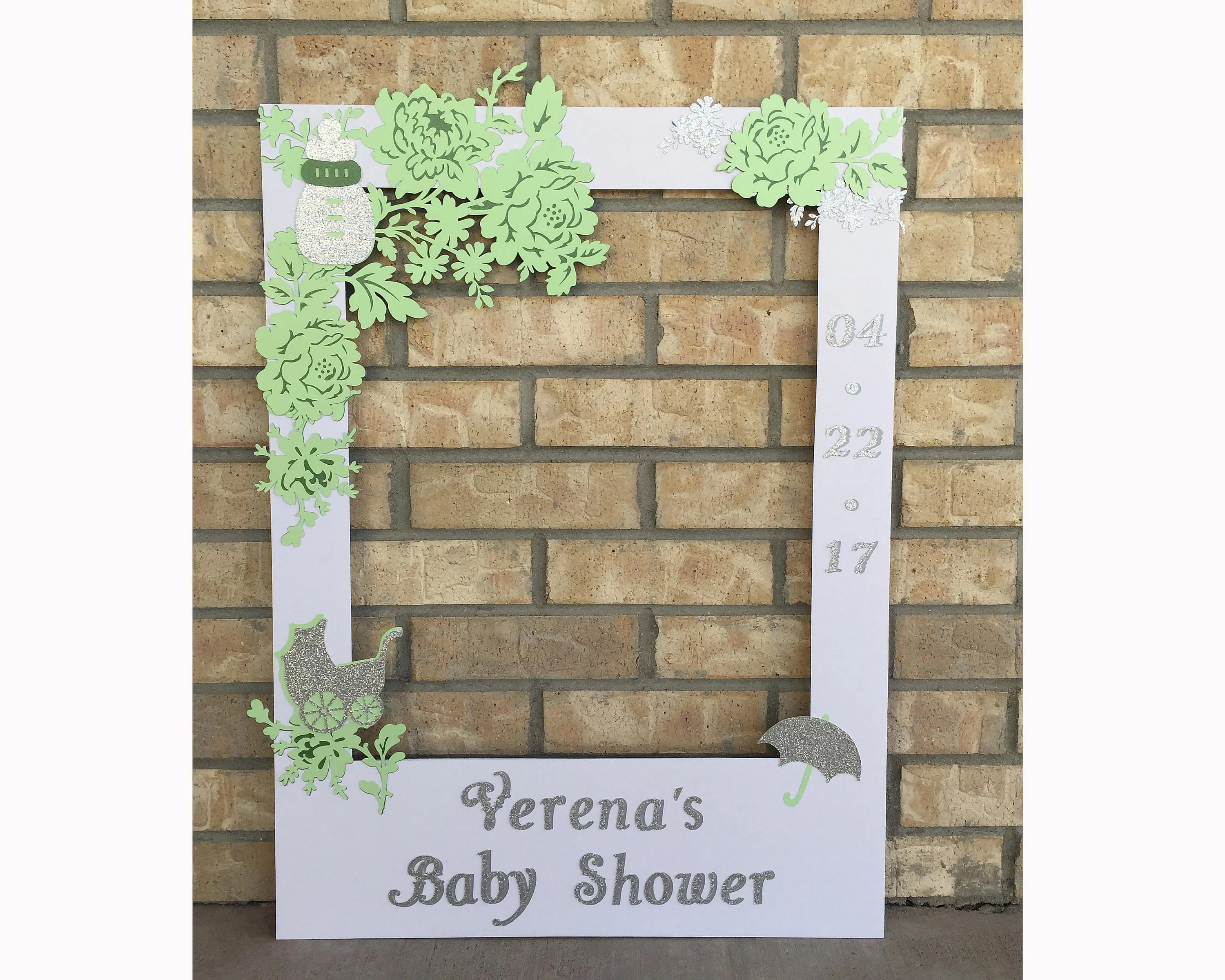 Photobooth Maison Gender Neutral Baby Shower Photo Booth Frame Prop With Mint Flowers And Glitter Silver Custom Colors Custom Message Physical Product