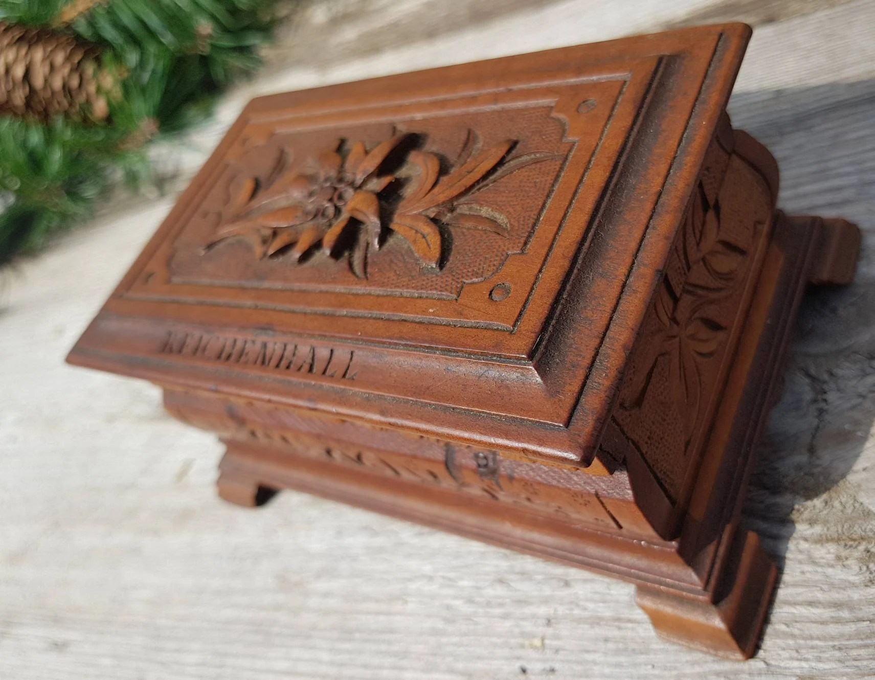 Bad Shabby Chic Edelweiss Happy To See You Vintage German Wood Box Handmade Traditional Bavarian Decor Shabby Chic Jewelry Box Bad Reichenhall Shipping Inc
