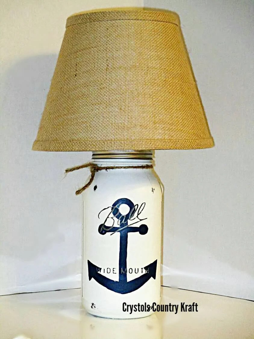 Glass Jar Lamp Shade Anchor Table Lamp Navy Blue Anchor Lamp Burlap Lamp Shade Etsy