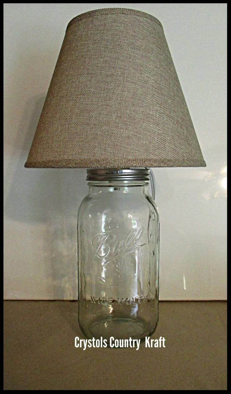 Glass Jar Lamp Shade Rustic Lamp Fillable Mason Jar Lamp Burlap Lamp Shade 1 2 Etsy