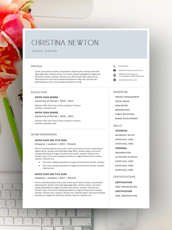 Modern Resume Template Modern Resume Design for Word 12 Etsy