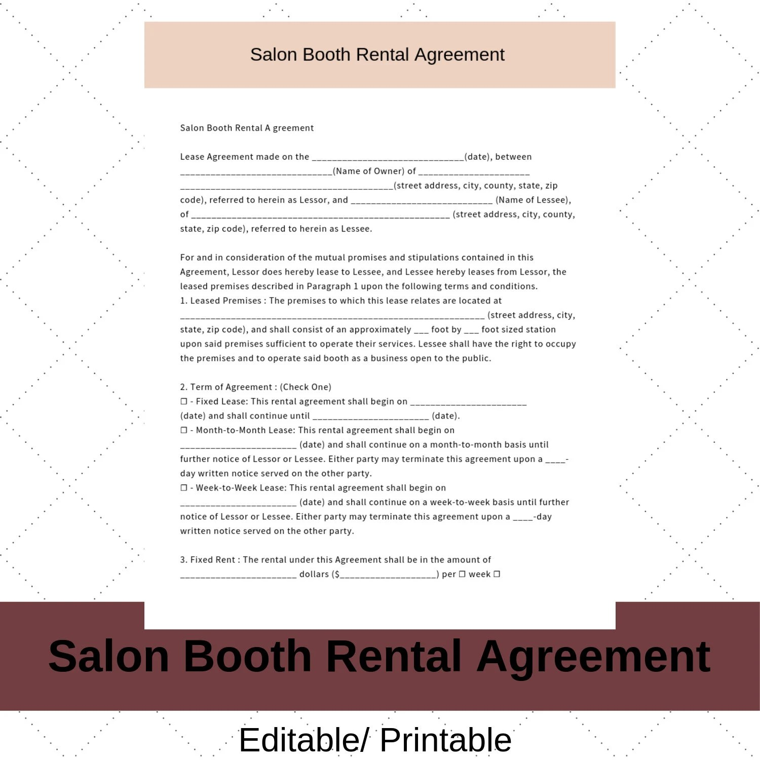 Hair Stylist Booth Rental Agreement/Contract Instant Etsy