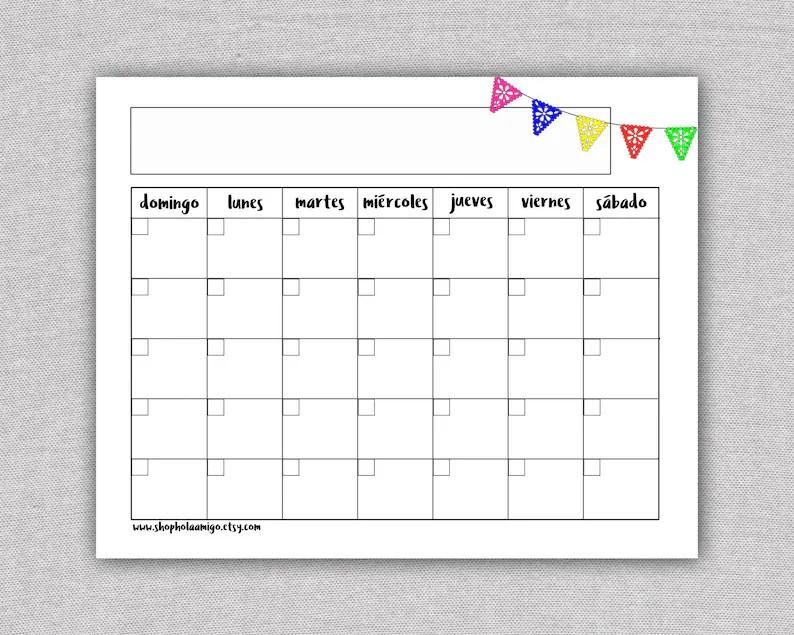 Spanish Printable Calendar Template Calendario Mensual Etsy