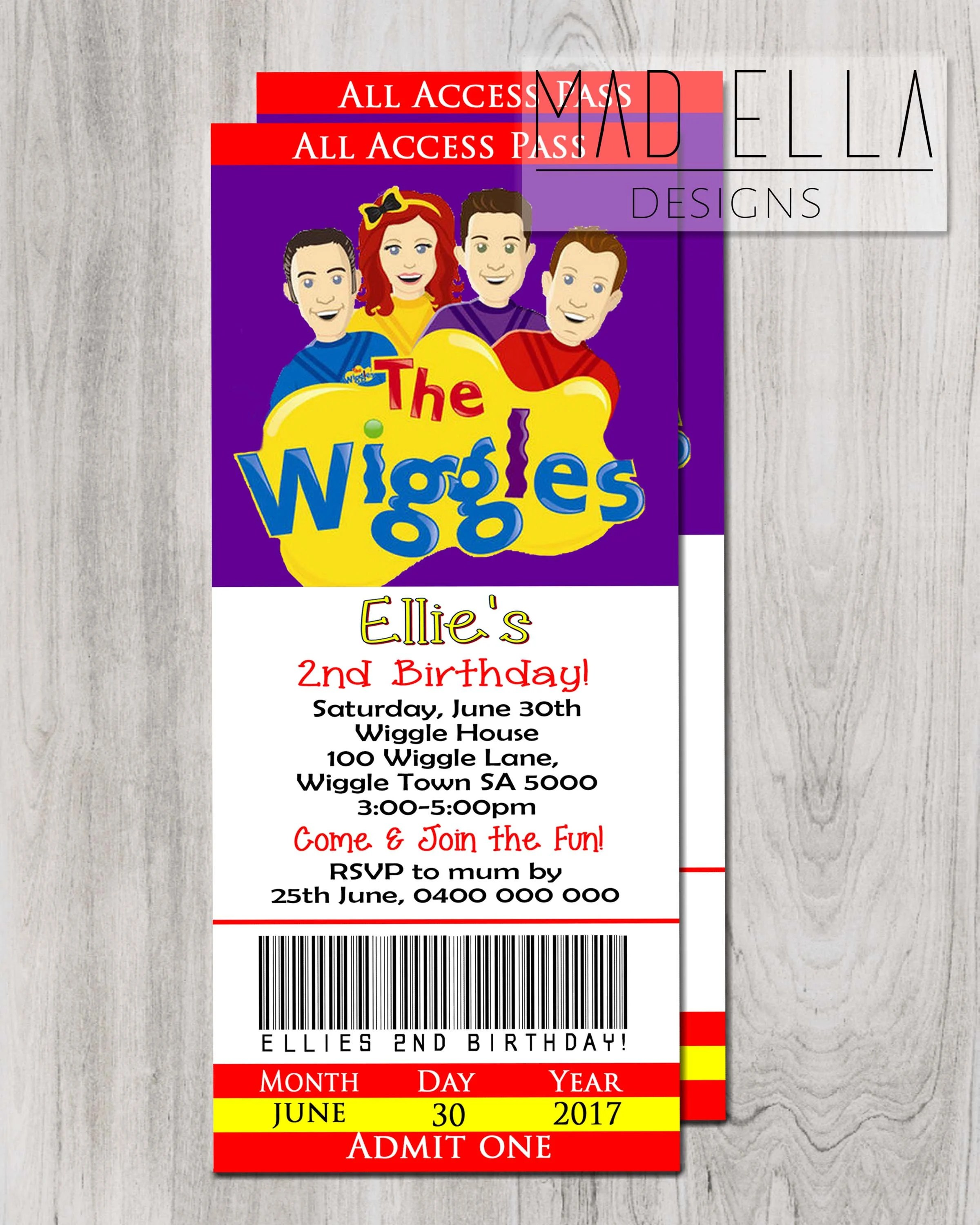 The Wiggles Concert Ticket Invitation Wiggles Invite Wiggle Etsy