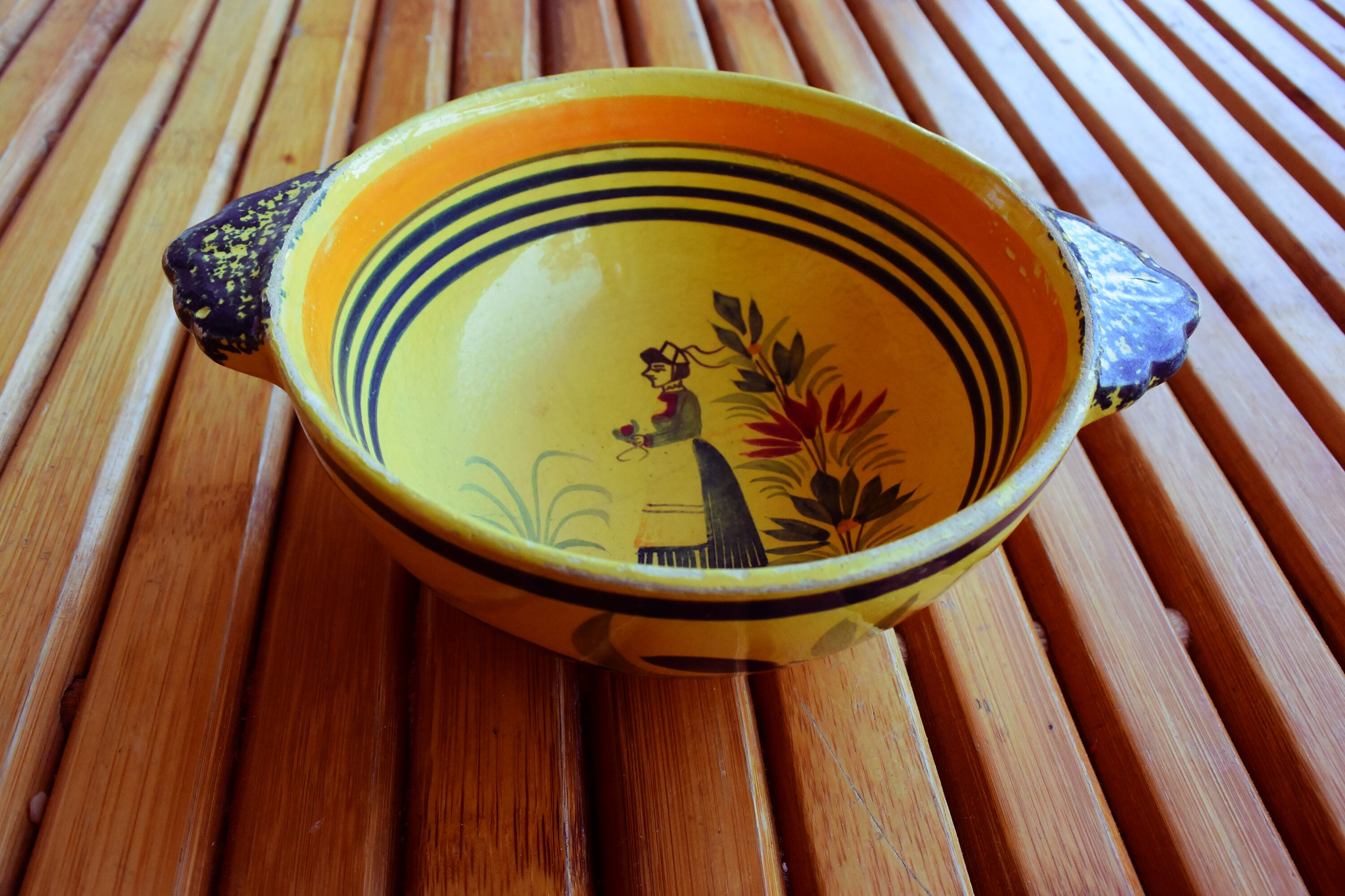 Deco Quimper Bowl By Quimper Signed Henriot Art Deco Made In France