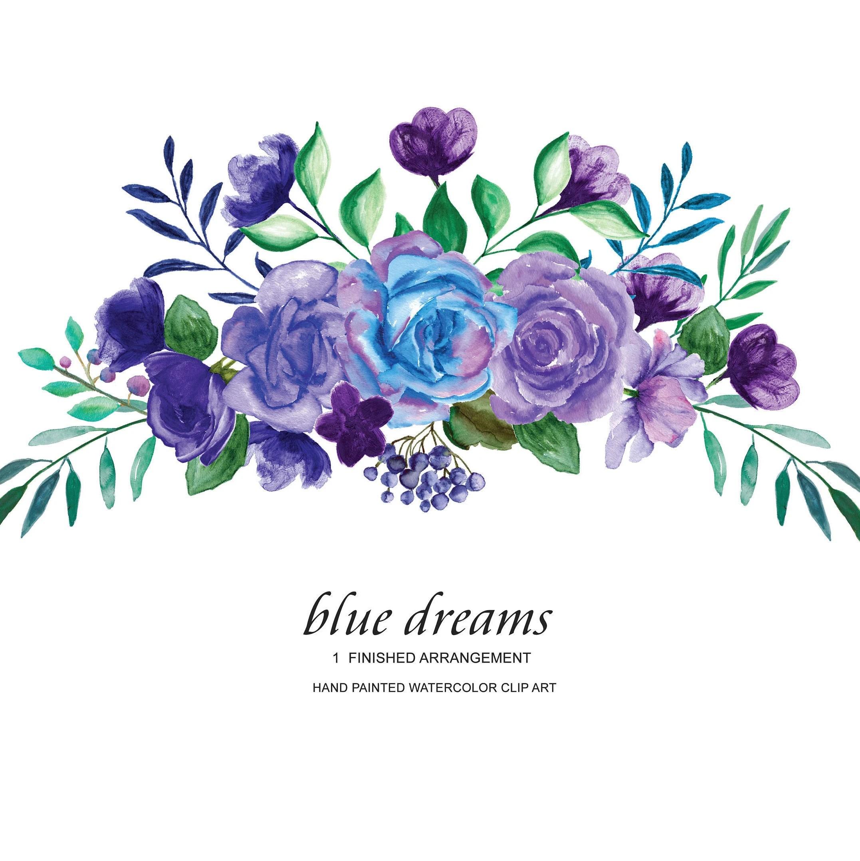 Watercolor Blue Purple Roses Flower Clipart One Arrangement Etsy