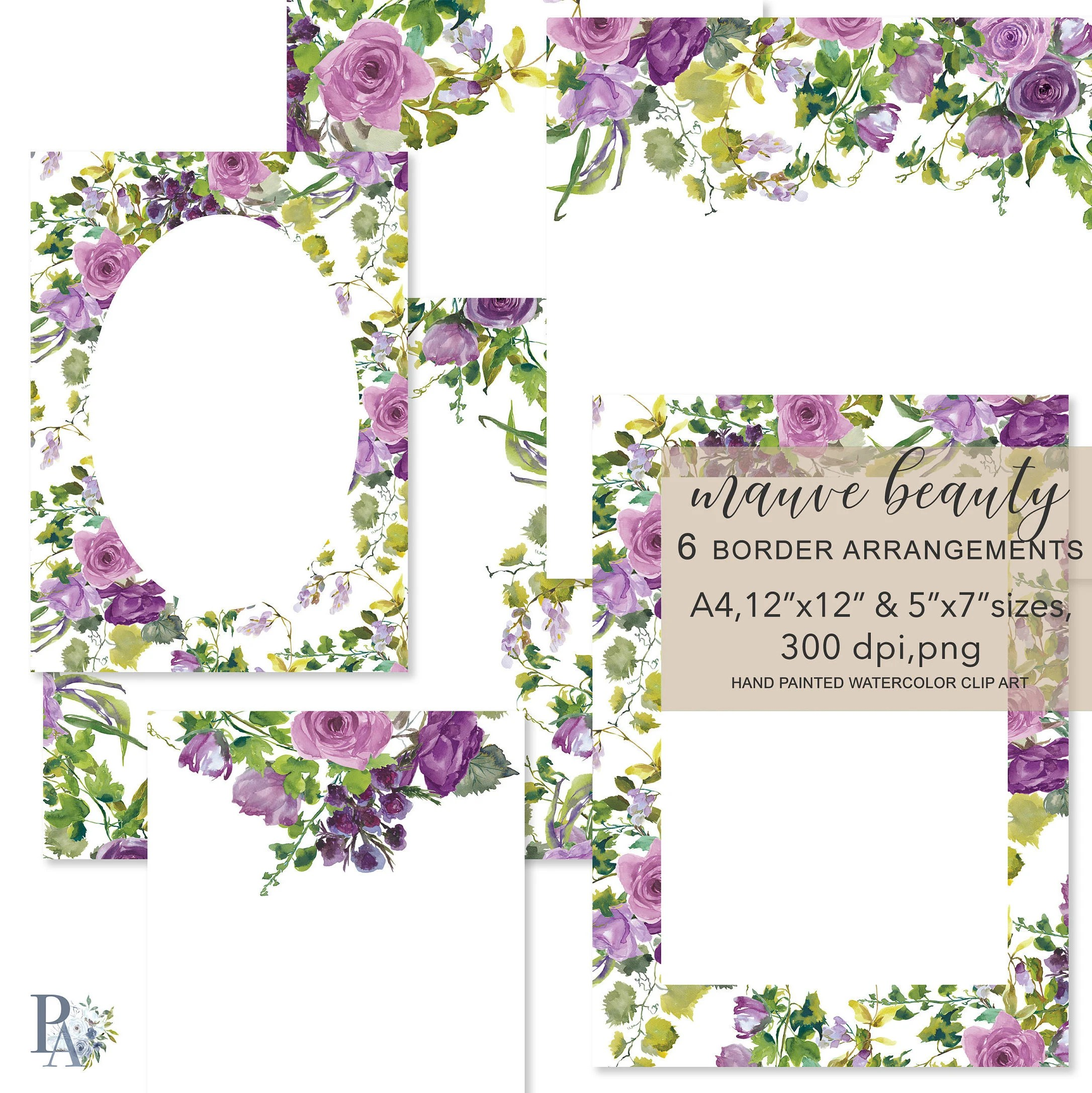 Watercolor Mauve and Purple Flowers Foliage Frames Etsy