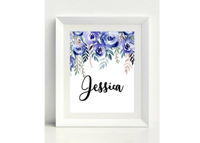Jessica Baby Name Sign Printable Wall Art Nursery Decor