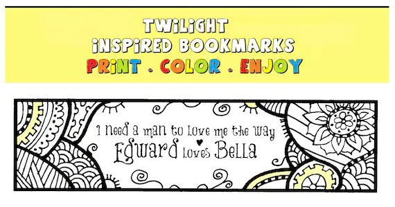 Twilight Inspired Printable Bookmarks Print Color and Enjoy Etsy