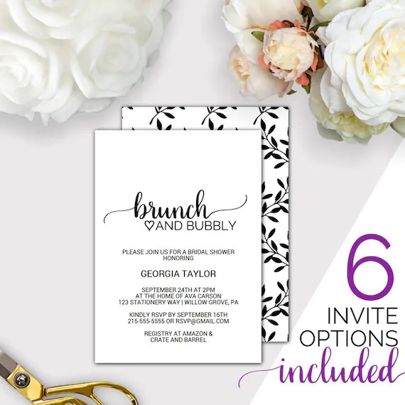 Brunch and Bubbly Bridal Shower Invitation Template Printable Etsy
