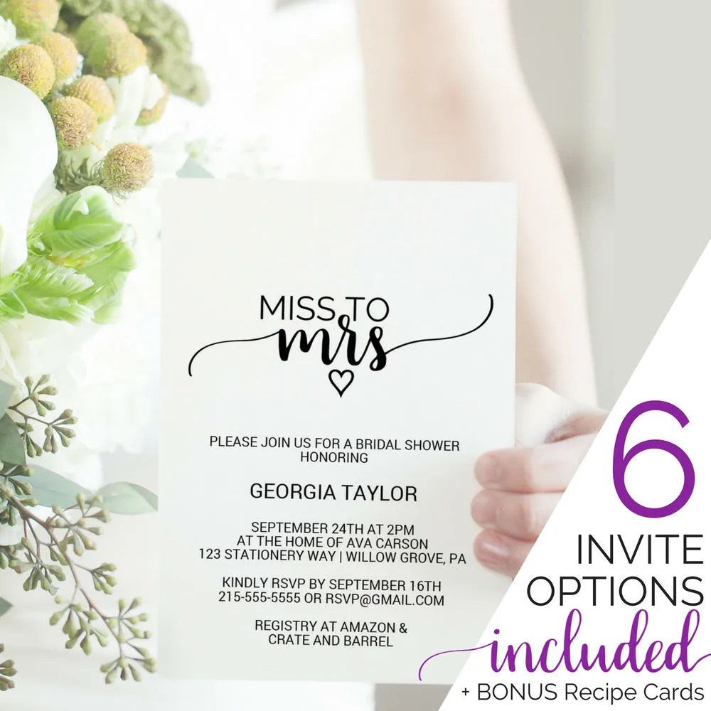 Printable Bridal Shower Invitation Template Miss to Mrs Tea
