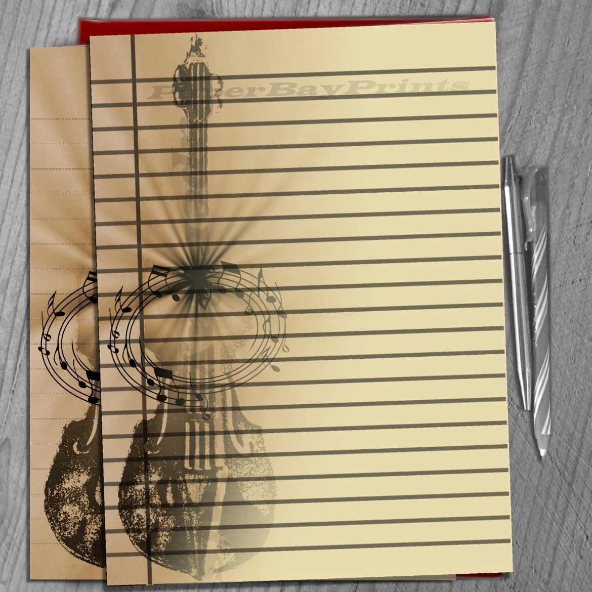 Printable Writing Paper, Lined Paper Background, Retro Violin Print