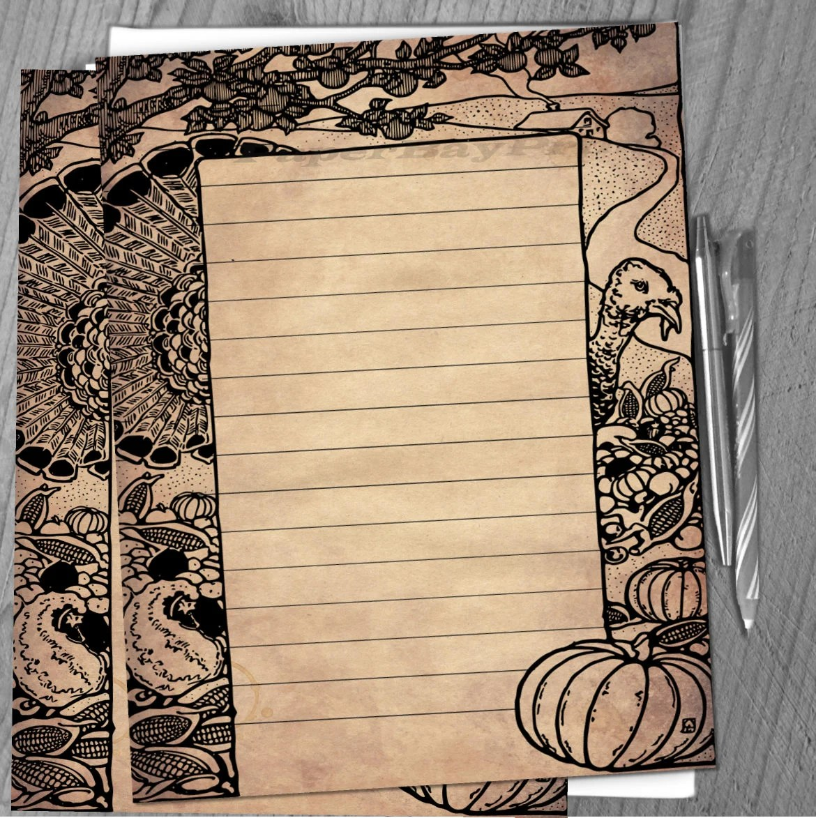 Printable Writing Paper Vintage Thanksgiving Border Old Etsy