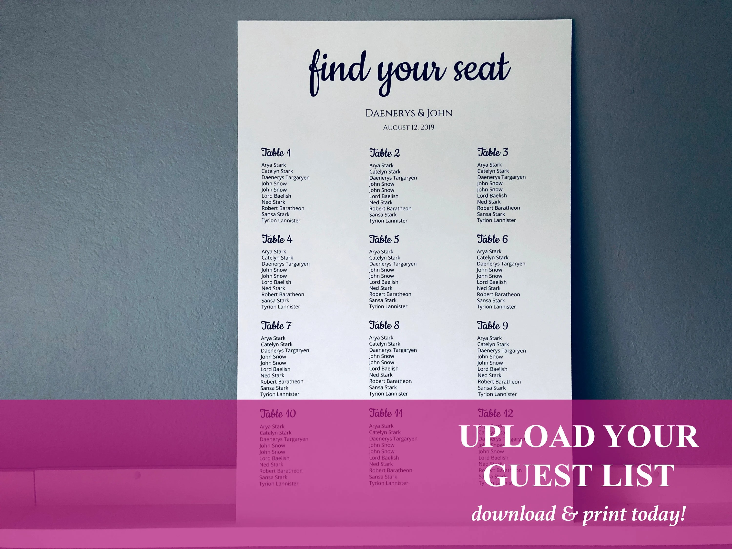 Printable Seating Chart Poster Upload Guest List Instant Etsy