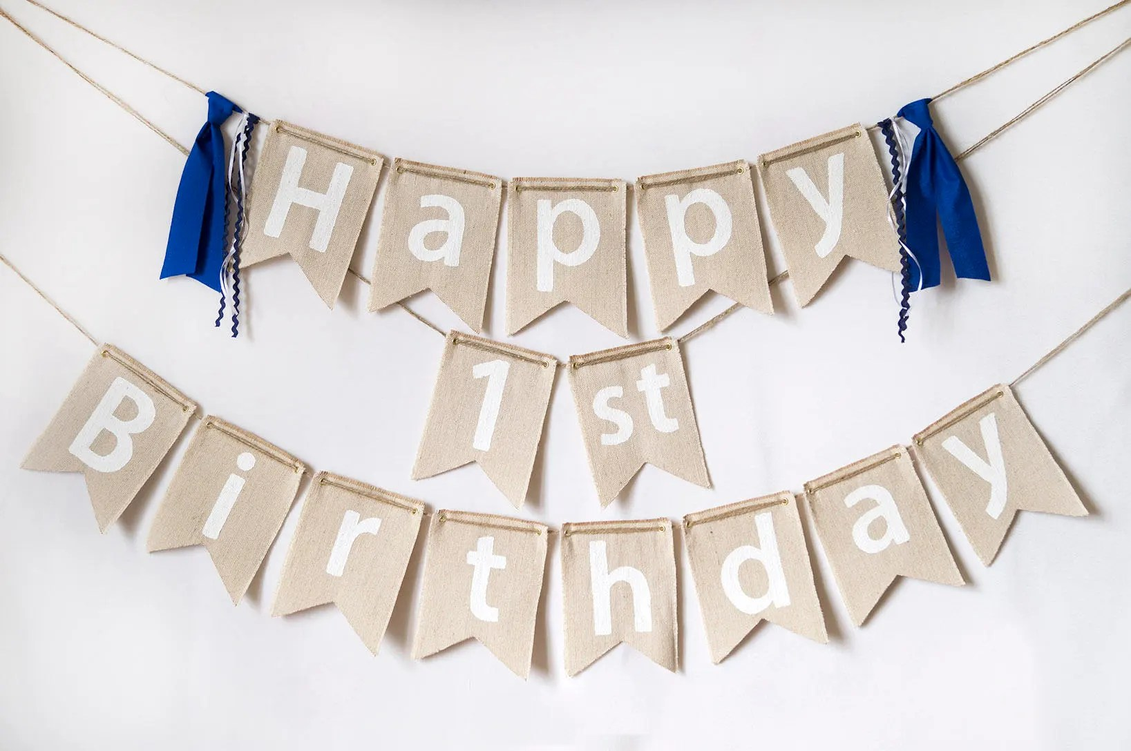 Happy First Birthday Banner Etsy