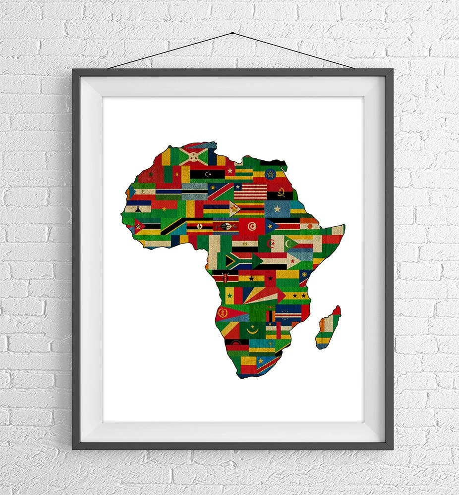 African Continent Print Africa Flags Africa Map African Etsy