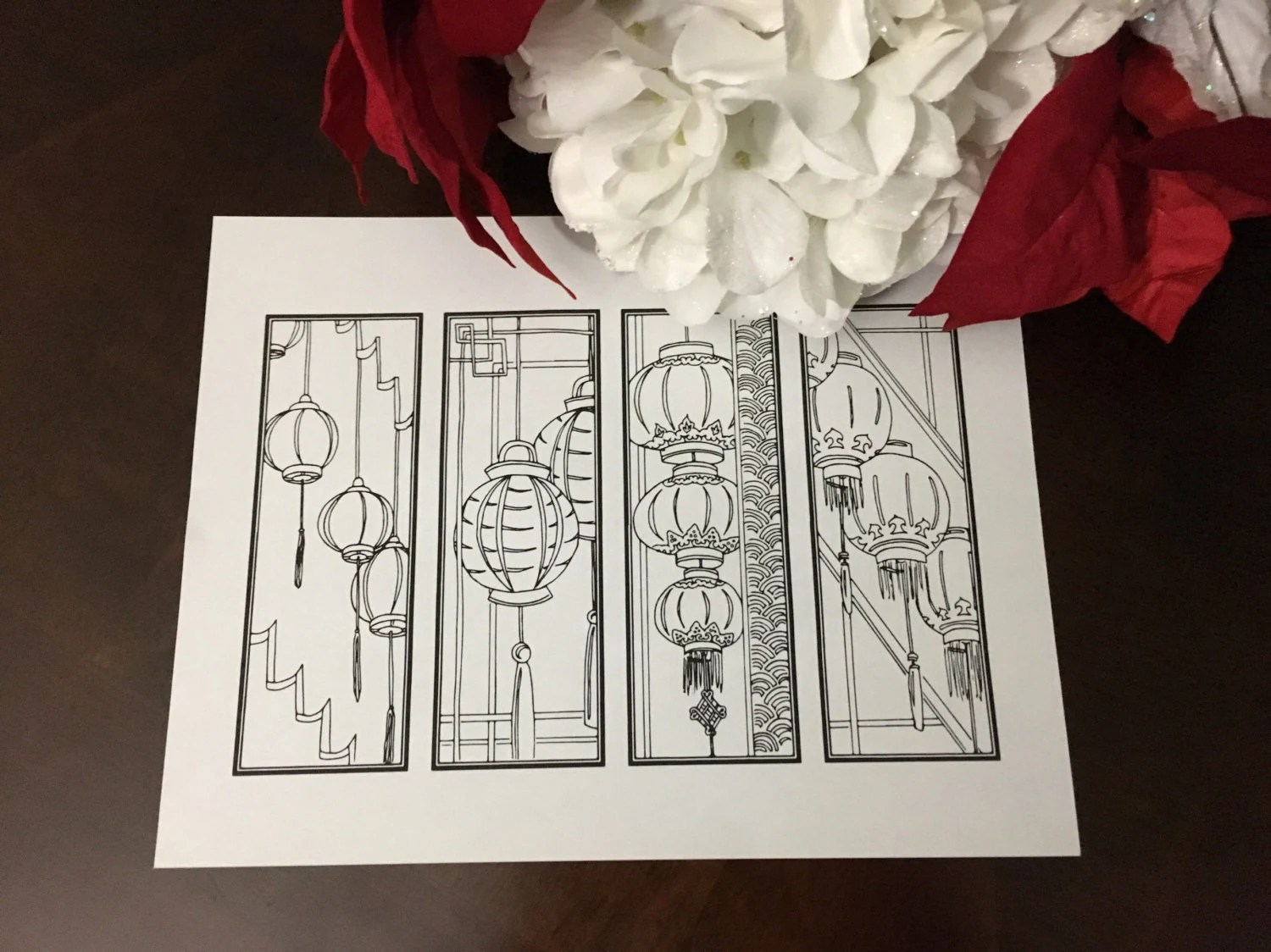 DIY Chinese Lanterns Bookmarks Set of 4 Printable Coloring Etsy