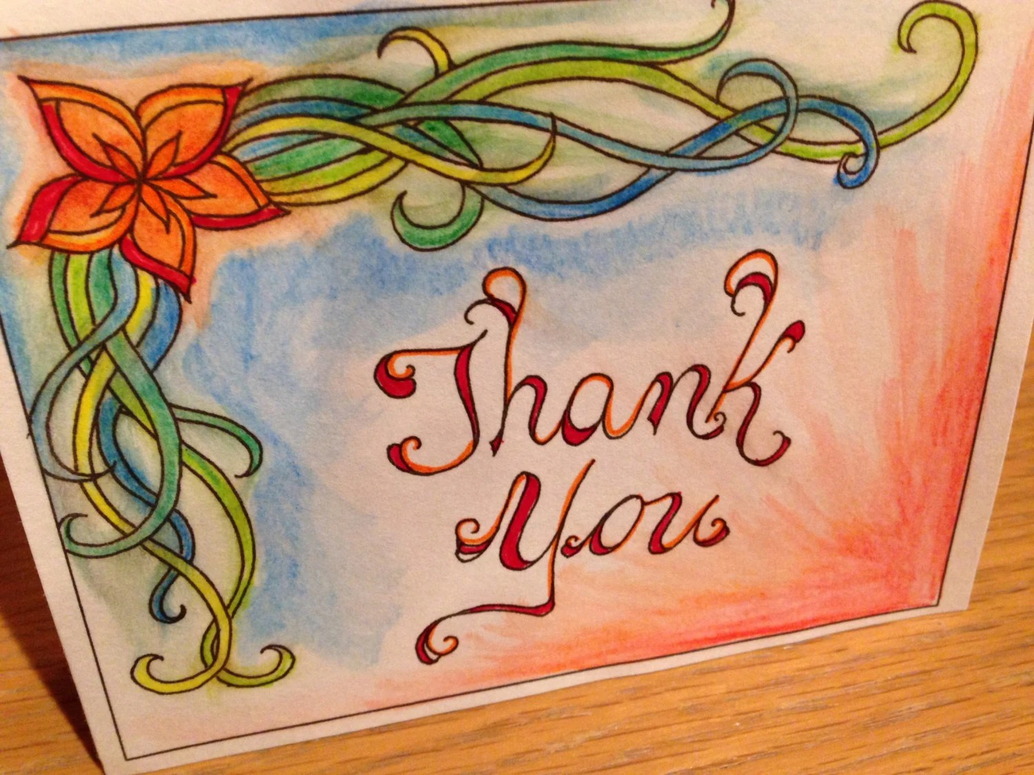 Color Your Own Thank You Cards Set of Two Instant Download Etsy