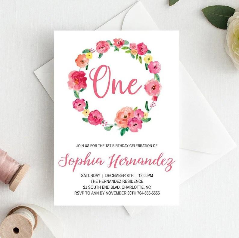 Girl 1st Birthday Invitation Template Floral First Birthday Etsy