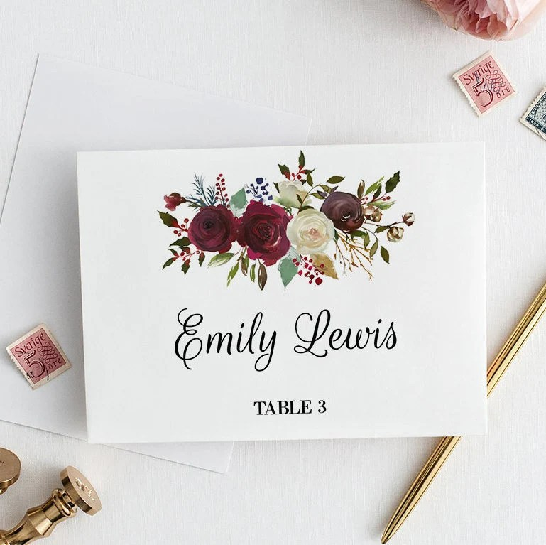 Floral Wedding Place Cards Template Wedding Printable Wedding Etsy