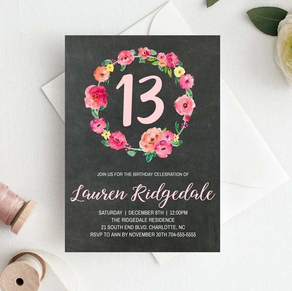 13th Birthday Invitation Template 13 Birthday Invitations for Etsy