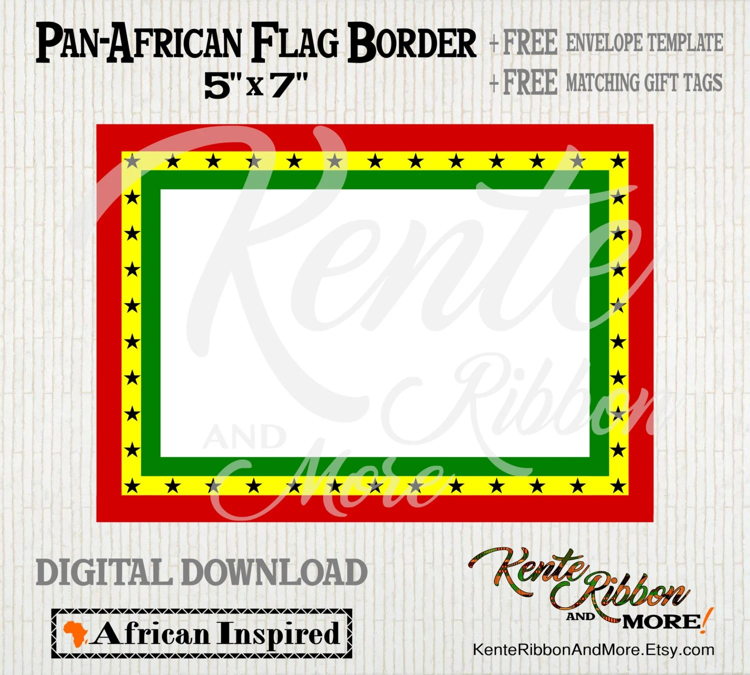 DIY - Printable Pan-African Ghana Flag 5x7 Border - 2-up on 85x11 - A7 Envelope Template