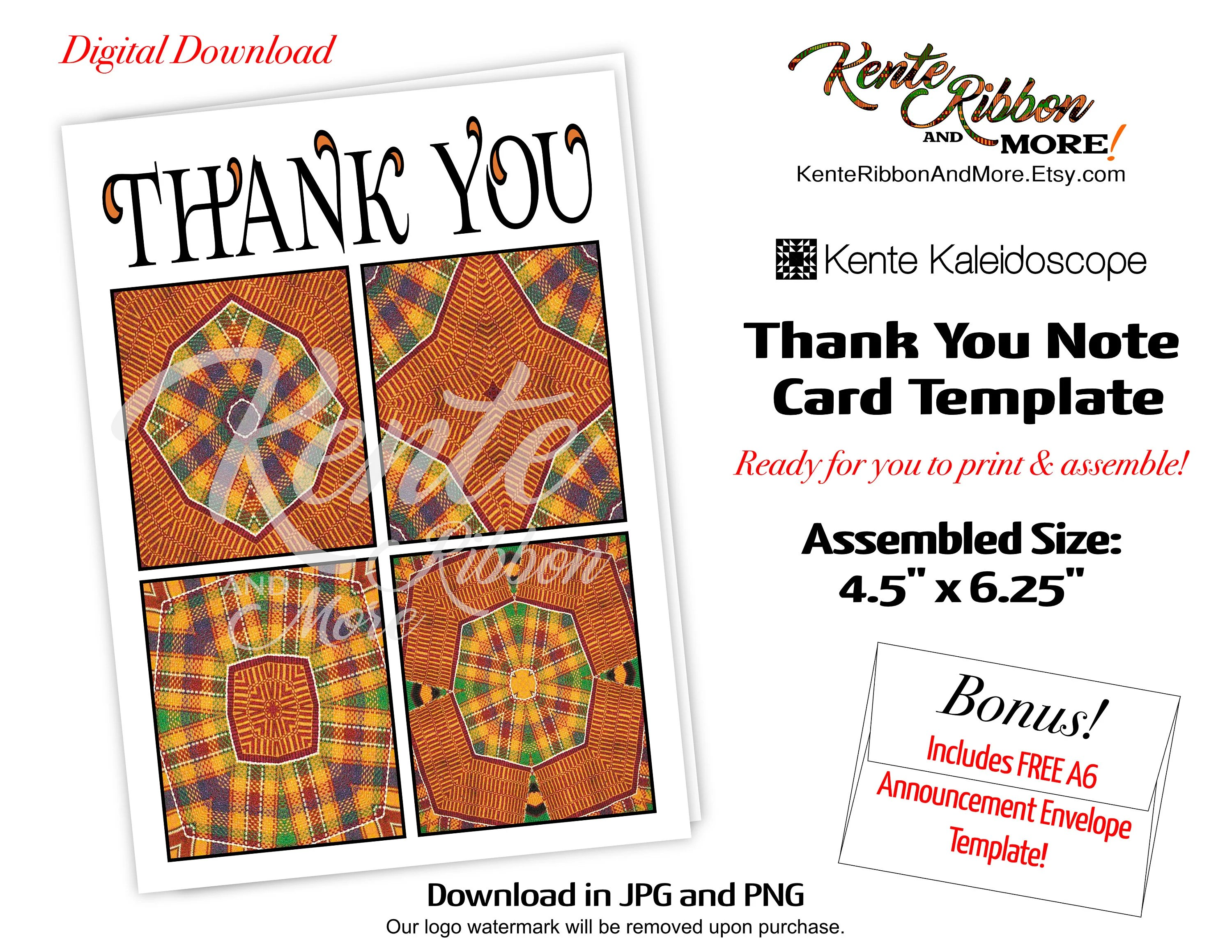 DIY Printable Kente Kaleidoscope Thank You Card Trim size Etsy