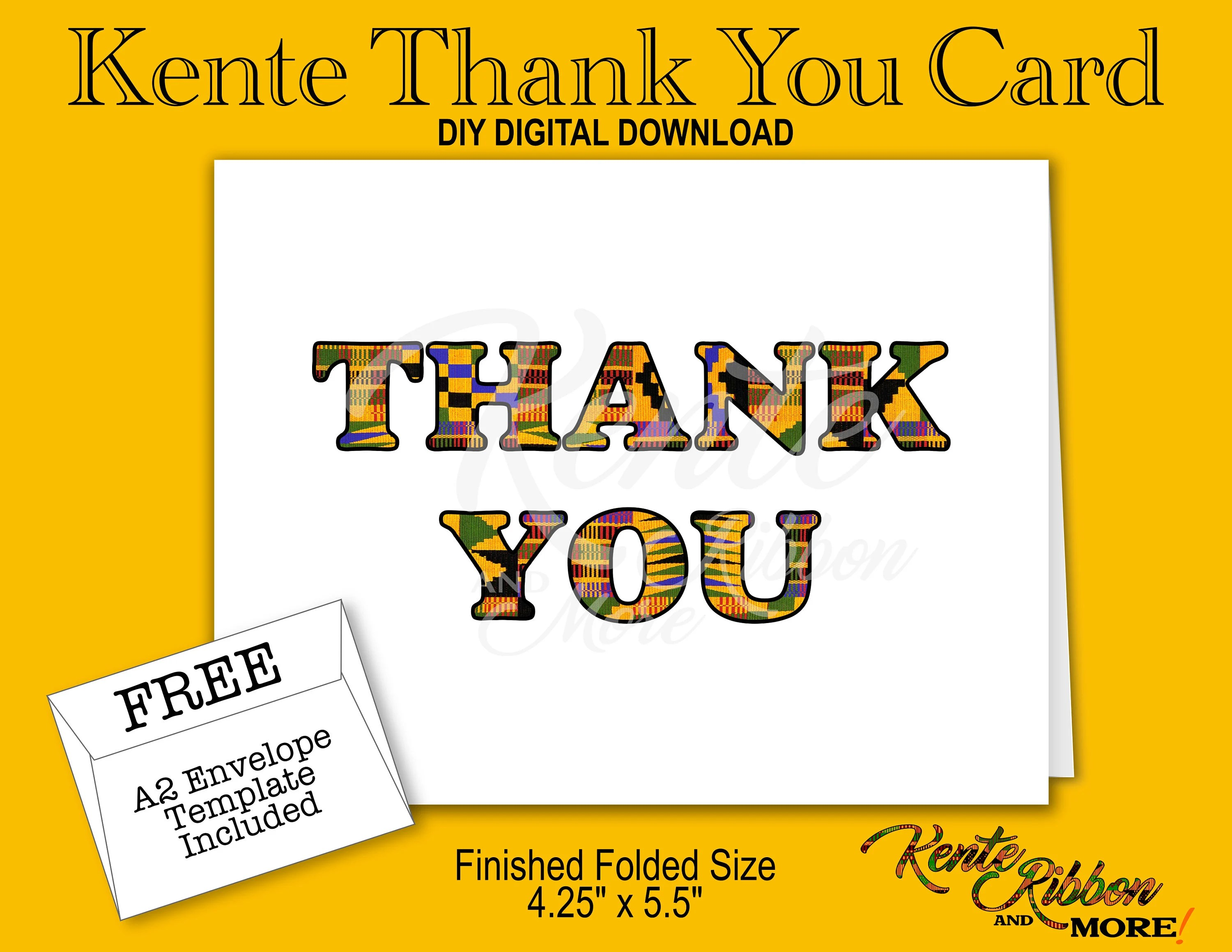 DIY Kente Thank You Note Card Finished folded size Etsy