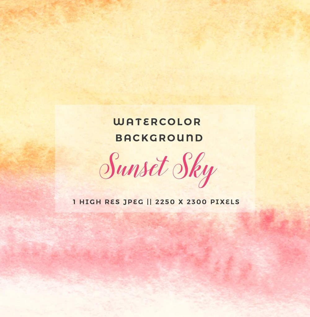 Abstract Watercolour background Sunset Sky Watercolor Yellow Etsy