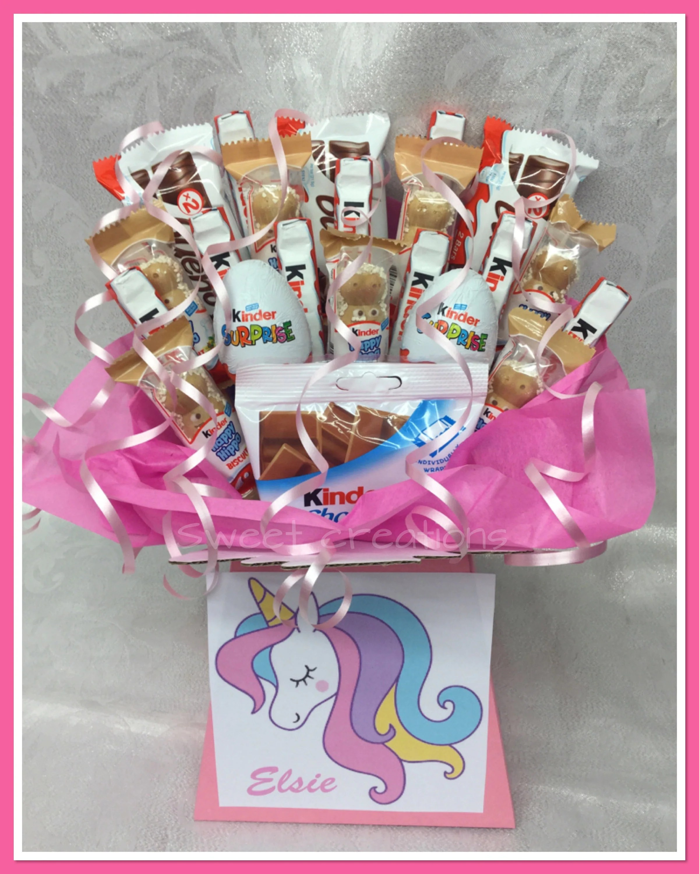 Kinderessen Party Unicorn Kinder Bouquet Large Sweet Creations Sweet Hamper Gift Party Tablecentre
