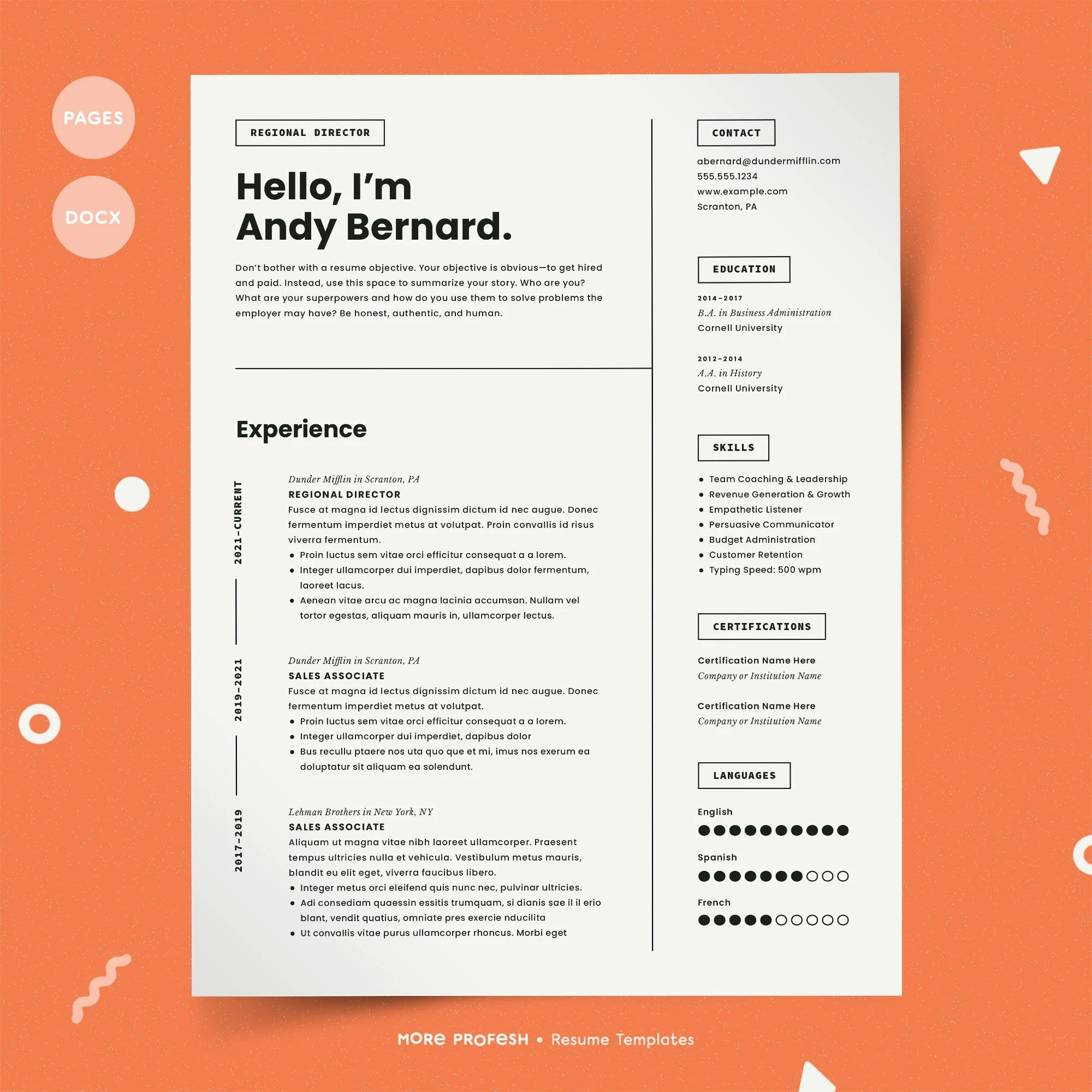 Resume for Mac Pages Resume Resume for Pages CV Template Etsy