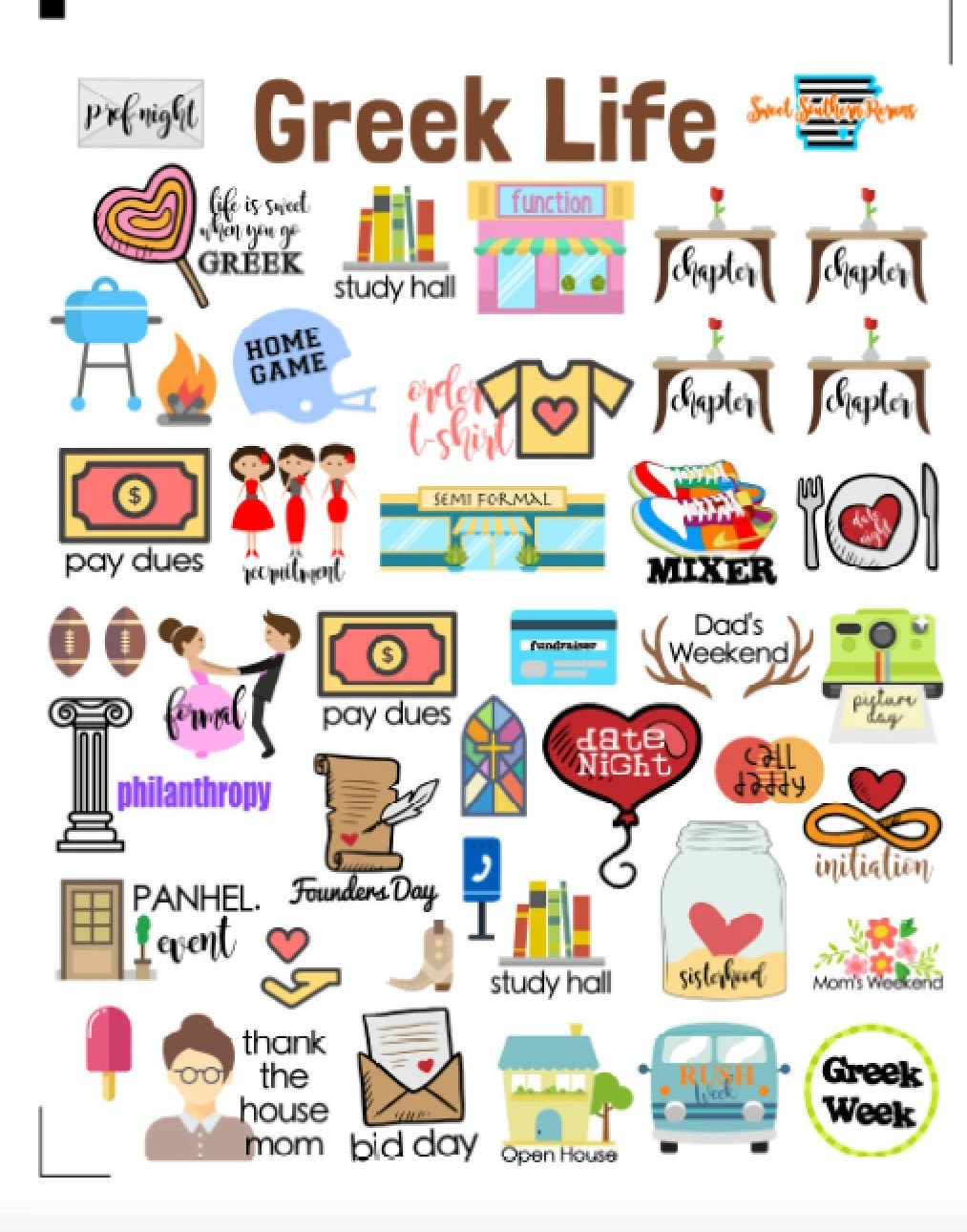 COLLEGE SORORITY GREEK life planner stickers for Erin Condren, Kikki K,  Plum Paper, and many more paper-based planners